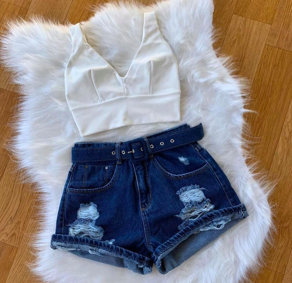 SHORT MOM JEANS CINTO ENCAPADO